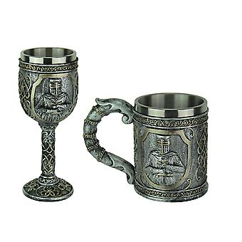 Pewter Look Templar Knight Goblet and Mug Set With Stainless Steel Liner