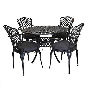Charles Bentley Cast Aluminium Dining Round Table and 4 Chairs Set in Black Outdoor Table with Dark Grey Cushions