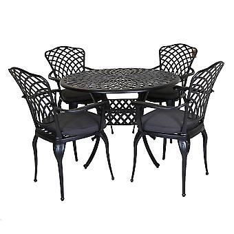 Charles Bentley Cast Aluminium Dining Round Table och 4 stolar set i svart utomhusbord med mörkgrå kuddar
