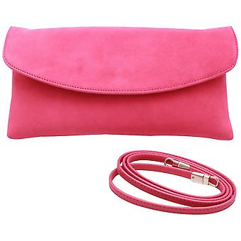 Peter Kaiser Winema Fuschia Suede Fold Over Clutch Bag