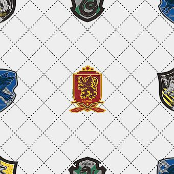Harry Potter House Pride Wallpaper White / Multi Graham and Brown 108699