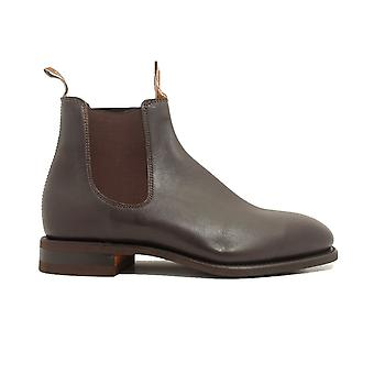 RM Williams Craftsman H Width Rubber Sole Chestnut Leather Mens Pull On Chelsea Boots
