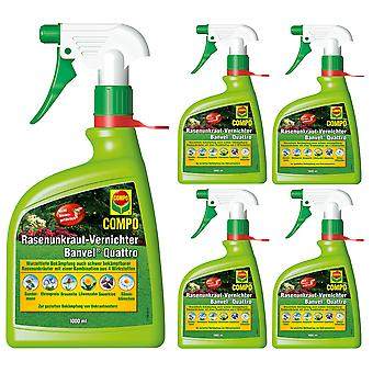 Sparsomme: 5 x COMPO Lawn Weed Killer Banvel® Quattro AF, 1000 ml