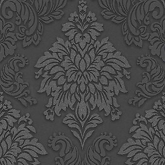 A.S. Creation AS Creation Lizzy London Metallic Glitter Damask Wallpaper Grey Black