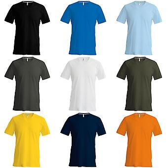 Kariban heren korte mouw V-hals Slim Fit T-Shirt