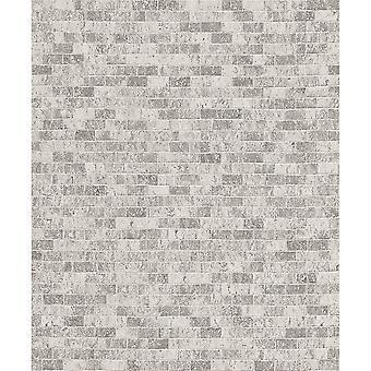Erismann Stone Brick Pattern Embossed Faux Effect Realistic Light Grey Wallpaper