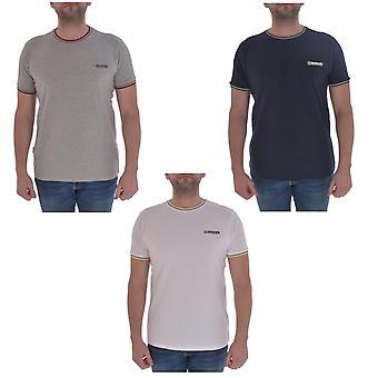 Lambretta Mens Tipped Pique Casual Crew Hals Kort ärm T-shirt Top Tee