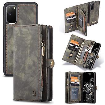 CASEME Samsung Galaxy S20 Caixa de carteira de couro retrô - cinza