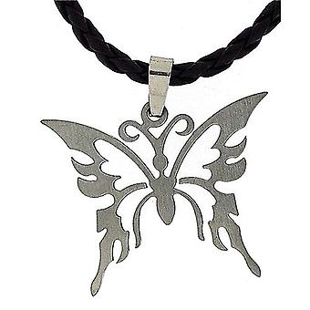 TOC Stainless Steel Butterfly Pendant Necklace On Plaited 18