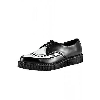TUK Shoes Black & White Leather Pointed Creeper