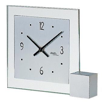 AMS 102 Table clock Quartz analog silver modern angular with glass and aluminum