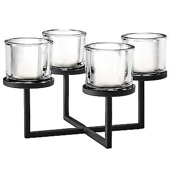 Blomus candlestick NERO steel powder-coated combined with glass