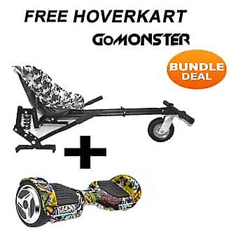 "6.5"" G PRO Hip Hop Bluetooth Hoverboard with Go Monster Hoverkart in Camo"