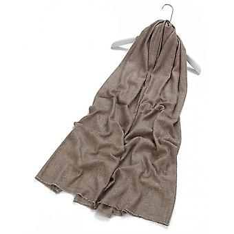 Fine Herringbone Pure Cashmere Scarf - Brown
