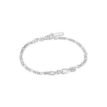 Ania Haie Chain Reaction Rhodium Figaro Chain Bracelet B021-03H