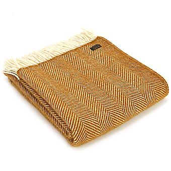 Tweedmill Pure New Wool Fishbone English Mustard Throw
