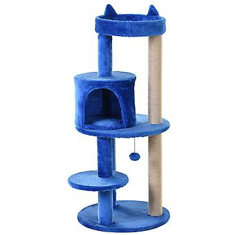 PawHut 3-Tier Deluxe Cat Activity Tree w/ Scratching Posts Ear Perch House Platform Play Ball Plush Fun Toys Exercise Rest Relax Climb Kitten Pets Royal Blue
