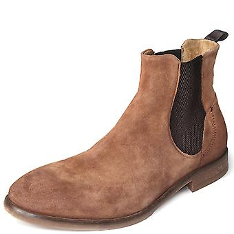 Mens Hudson London Watchley Suede Smart Office Formal Chelsea Ankle Boots