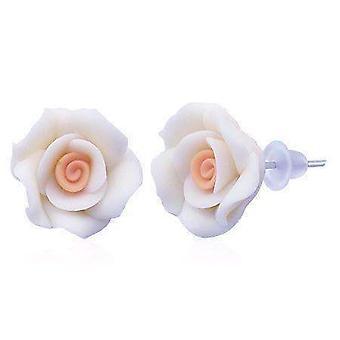 Double délice rose main fabriqué deux boucles d'oreilles tone clou de pêche