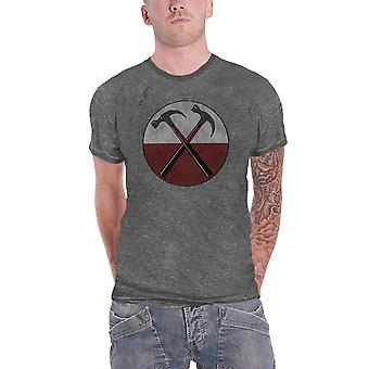 Pink Floyd T Shirt The Wall Hammers nouveau officiel Mens Charcoal Grey Burn Out