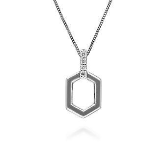 Diamond Pave Hex Bar Hangketting in 9ct WitGoud 162P0226019