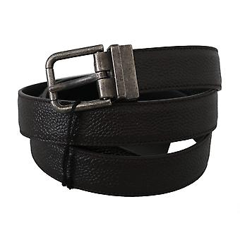 Dolce & Gabbana Gray Brushed Buckle Brown Leather Belt