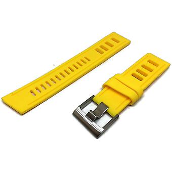 Yellow diving watch strap vintage ladder style size stainless steel buckle