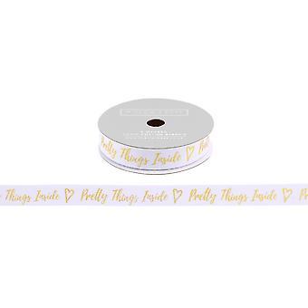 CGB cadeaux Willow et Rose jolie choses à l'intérieur blanc paillettes cadeau ruban (5m)