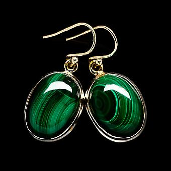 Malachite Earrings 1 3/8