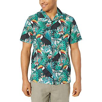 28 Palms Men's Standard-Fit 100% Cotton Tropical Hawaiian Shirt, Turquoise To...