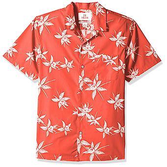 28 Palms Men's Standard-Fit 100% Cotton Tropical Hawaiian Shirt, Red/White Fl...