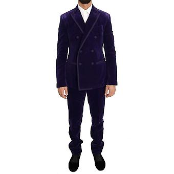 Dolce & Gabbana Purple Velvet Slim Fit Double Breasted Suit -- KOS1502256
