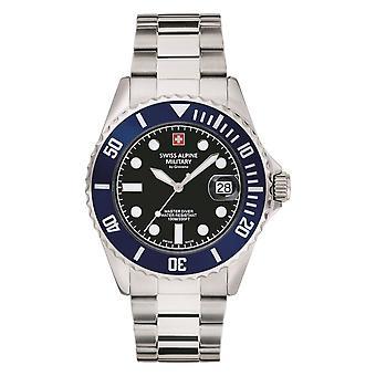 Reloj suizo de los hombres militares alpinos cuarzo analógico 7053.1136SAM acero inoxidable