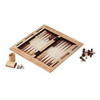 55-0202, Mainstreet Classics 3-in-1 Wood Game / Chess - Checkers - Backgammon