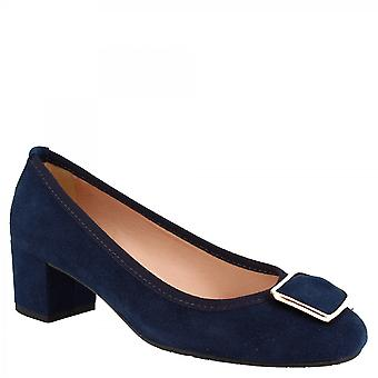 Leonardo Shoes Women's handmade low heels pumps shoes blue suede leather with buckle