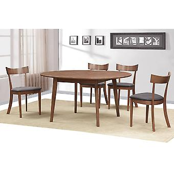 Adelaide/Jasper Round Jasper Gy - 5Pc Dining Set - Walnut Table/Grey Chair