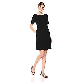 Lark & Ro Women's Short Sleeve Bateau Neck Sheath Dress with Pockets, Black, 16