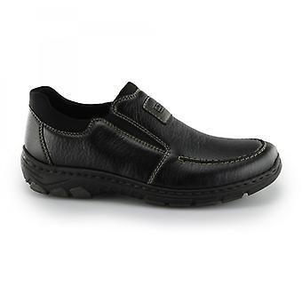 Rieker 19961 Mens Faux Leather Slip On Loafer Shoes Black