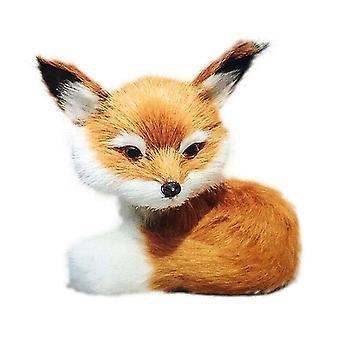 Cute Mini Sitting Fox Model Plush Animal Decoration