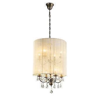 Pendentif plafond avec crème ivoire nuance 8 laiton antique léger, cristal