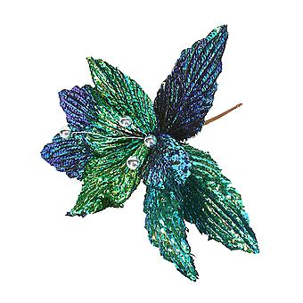 24cm Peacock Colours Sequin Flower Pick with Silver Bead Centre | Christmas Floristry Supplies