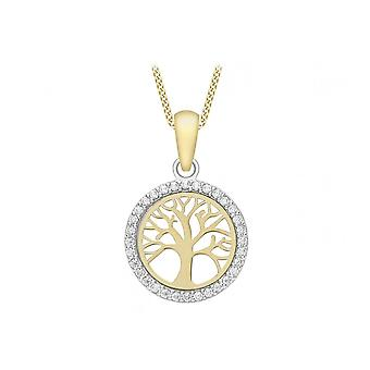 Eternity 9ct Gold Cubic Zirconia Tree Of Life Pendant And 16'apos; Chain