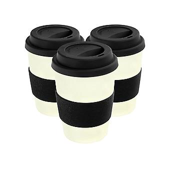 Reusable Coffee Cups - Bamboo Fibre Travel Mugs with Silicone Lid, Sleeve - 350ml (12oz) - Black - Pack of 3