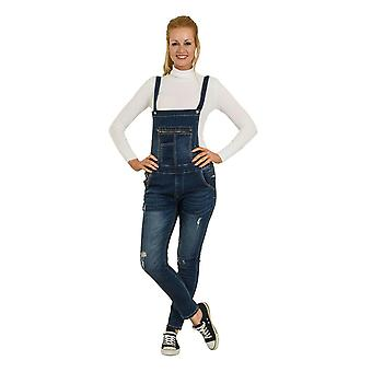 Skinny fit distressed denim dungarees Damen Lätzchen Overalls Abrieb Detail