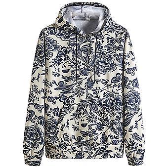 Allthemen Men's Printed Flowered Hooded Sweater Long-sleeve Large Size Autumn