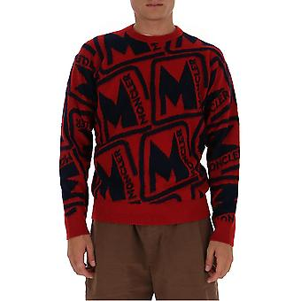 Moncler 9c738a9379456 Men's Black/red Wool Sweater