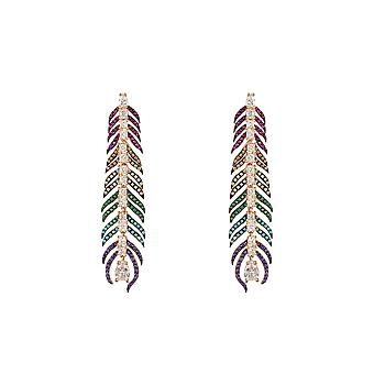 Pink Elongated Multicoloured Rainbow Peacock Feather CZ Rose Gold Drop Earrings