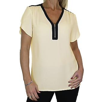 Women's Loose Zip V Neck Shirt Top Ladies Georgette Short Sleeve Casual Formal Business Office Evening Day Smart Blouse Size 8