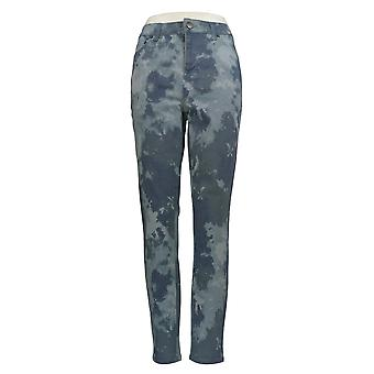 LOGO by Lori Goldstein Women's Jeans Printed Twill Ankle Jeans Blue A343692