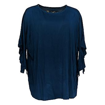 DG2 by Diane Gilman Women's Plus Top Blue Pullover Blouse Rayon 689-749